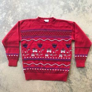 Vintage 80s Red Floral Crewneck Knit Sweater